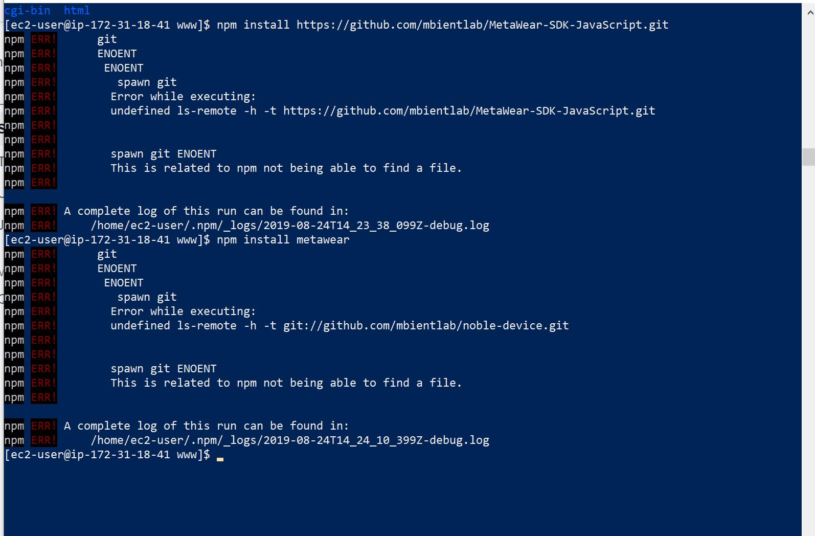 Unable to perform npm install metawear — MbientLab